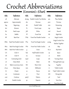Crochet Terms : abbreviations for crochet instructions when following a crochet ...